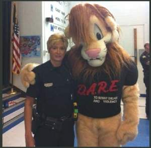 Officer Morgan with DARE mascot